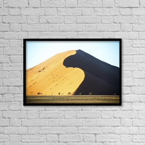 """Printscapes Wall Art: 18"""" x 12"""" Canvas Print With Black Frame - Large Desert Sand Dunes; Sossusvlei, Namibia by Remsberg Inc"""