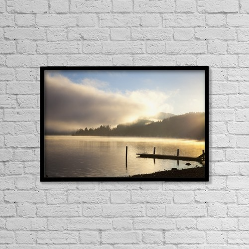 "Printscapes Wall Art: 18"" x 12"" Canvas Print With Black Frame - Lake Whatcom At Sunrise by Blake Kent"