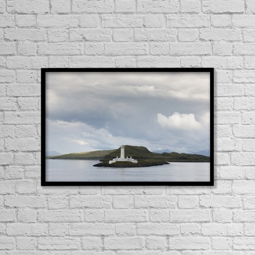 """Printscapes Wall Art: 18"""" x 12"""" Canvas Print With Black Frame - White Lighthouse Along The Coast; Scotland by John Short"""
