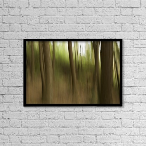 "Printscapes Wall Art: 18"" x 12"" Canvas Print With Black Frame - Motion Blur Of Trees; Ontario, Canada by Robert Postma"