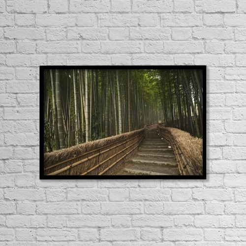 "Printscapes Wall Art: 18"" x 12"" Canvas Print With Black Frame - Stone Pathway In Bamboo Forest by Philippe Widling"