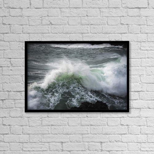 "Printscapes Wall Art: 18"" x 12"" Canvas Print With Black Frame - A Large Wave Breaks by Robert L. Potts"