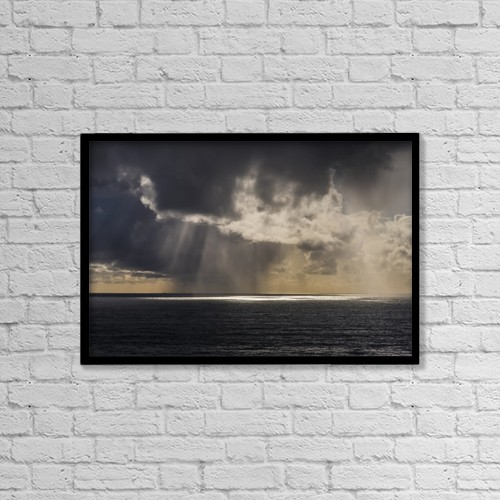 "Printscapes Wall Art: 18"" x 12"" Canvas Print With Black Frame - Rain Falls In The Distance Off The Coast by Robert L. Potts"