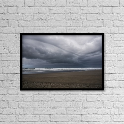 "Printscapes Wall Art: 18"" x 12"" Canvas Print With Black Frame - Storm Clouds Loom Over The Beach by Robert L. Potts"