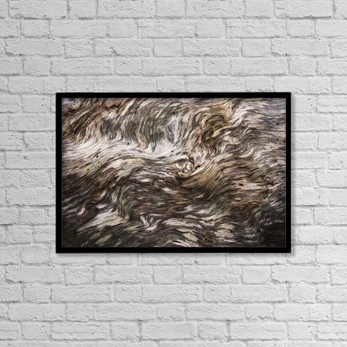 """Printscapes Wall Art: 18"""" x 12"""" Canvas Print With Black Frame - Amazing Patterns On Driftwood by Robert L. Potts"""