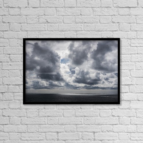 "Printscapes Wall Art: 18"" x 12"" Canvas Print With Black Frame - Sunlight Breaks Through The Clouds by Robert L. Potts"