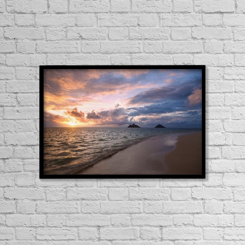 "Printscapes Wall Art: 18"" x 12"" Canvas Print With Black Frame - Sunrise At Lanikai Beach by Tomas del Amo"