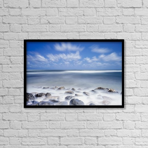 "Printscapes Wall Art: 18"" x 12"" Canvas Print With Black Frame - Long Exposure Of The Surf Along Wailua Beach by Ian Ludwig"