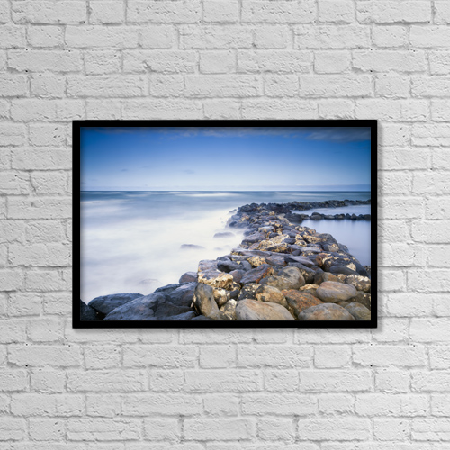 "Printscapes Wall Art: 18"" x 12"" Canvas Print With Black Frame - Rocks Along The Coast Of Lydgate Beach Park by Ian Ludwig"