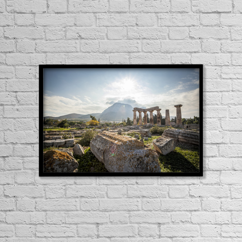 "Printscapes Wall Art: 18"" x 12"" Canvas Print With Black Frame - Stone Ruins, Temple Of Apollo by Reynold Mainse"