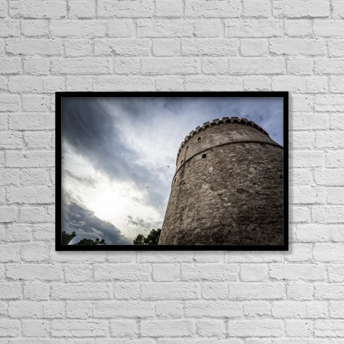 "Printscapes Wall Art: 18"" x 12"" Canvas Print With Black Frame - White Tower Of Thessaloniki by Reynold Mainse"