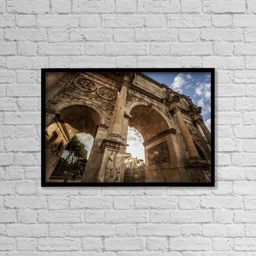 "Printscapes Wall Art: 18"" x 12"" Canvas Print With Black Frame - Arch Of Constantine; Rome, Italy by Reynold Mainse"