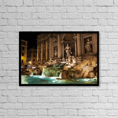"Printscapes Wall Art: 18"" x 12"" Canvas Print With Black Frame - Trevi Fountain At Nighttime; Rome, Italy by Reynold Mainse"