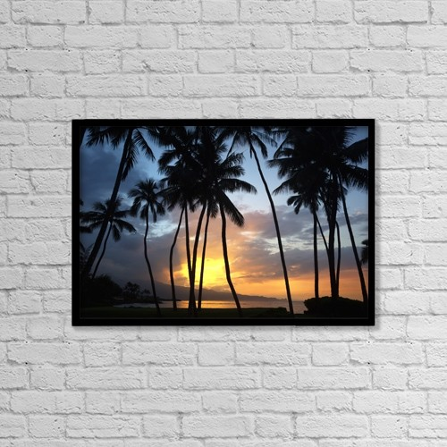 "Printscapes Wall Art: 18"" x 12"" Canvas Print With Black Frame - Sunset On The North Shore Of Maui by Ron Dahlquist"