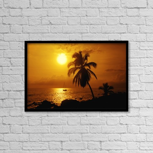 """Printscapes Wall Art: 18"""" x 12"""" Canvas Print With Black Frame - Sailboat And Palm Tree At Sunset by Ron Dahlquist"""