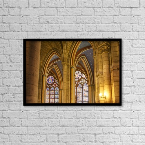 "Printscapes Wall Art: 18"" x 12"" Canvas Print With Black Frame - Gothic Arches In Cathedral Notre-Dame by Philippe Widling"