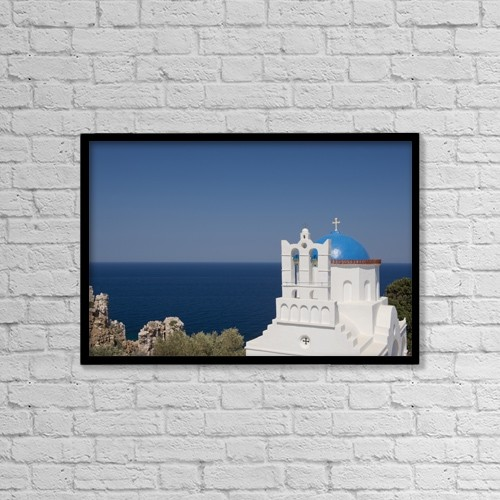 "Printscapes Wall Art: 18"" x 12"" Canvas Print With Black Frame - The Blue Domed Church Of Panayia Poulati by Ellen Rooney"