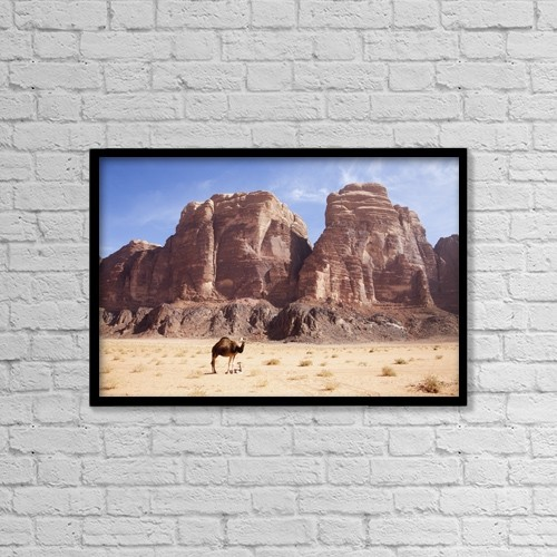"Printscapes Wall Art: 18"" x 12"" Canvas Print With Black Frame - Baby Camel And Mother; Wadi Rum, Jordan by Chris Bradley"