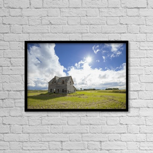 "Printscapes Wall Art: 18"" x 12"" Canvas Print With Black Frame - Dilapidated House On The Prairies by Susan Dykstra"