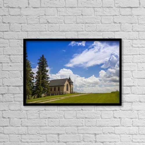 """Printscapes Wall Art: 18"""" x 12"""" Canvas Print With Black Frame - Church On A Hill In A Rural Setting by Susan Dykstra"""