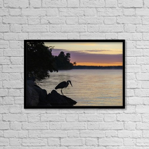 "Printscapes Wall Art: 18"" x 12"" Canvas Print With Black Frame - Blue Heron By Balsam Lake At Sunrise by Vast Photography"