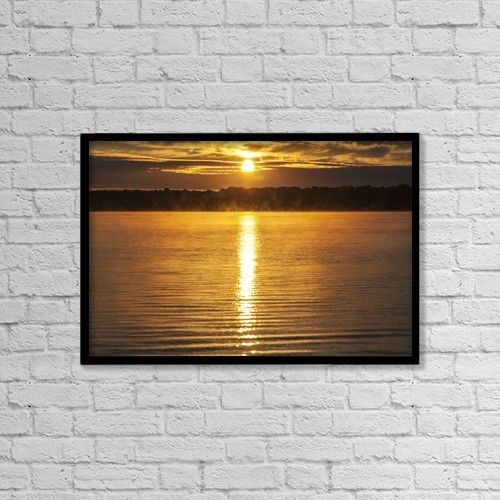 """Printscapes Wall Art: 18"""" x 12"""" Canvas Print With Black Frame - Balsam Lake At Sunrise; Ontario, Canada by Vast Photography"""