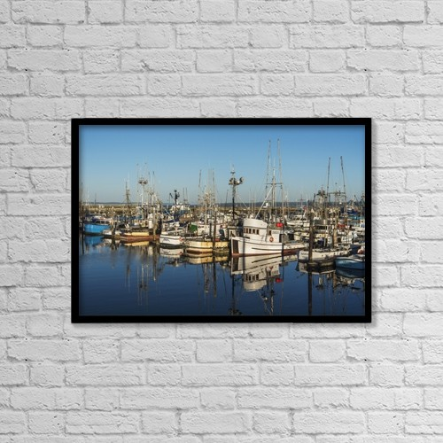 "Printscapes Wall Art: 18"" x 12"" Canvas Print With Black Frame - Fishing Boats In A Harbour by Robert L. Potts"