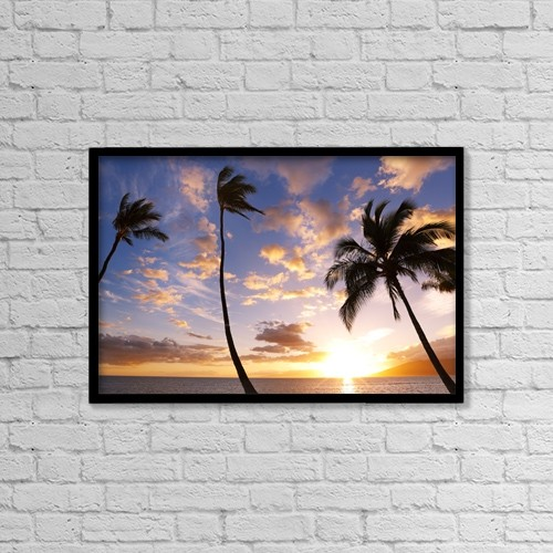 "Printscapes Wall Art: 18"" x 12"" Canvas Print With Black Frame - Sunset Palm Trees In Hawaii by Design Pics Vibe"