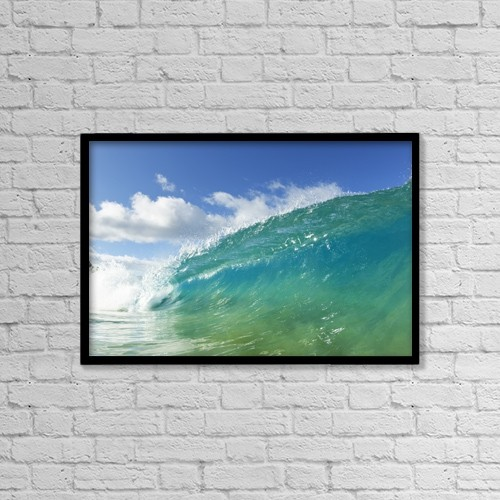 """Printscapes Wall Art: 18"""" x 12"""" Canvas Print With Black Frame - Blue Ocean Wave, View From In The Water by Design Pics Vibe"""