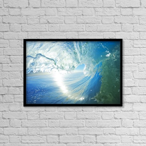 "Printscapes Wall Art: 18"" x 12"" Canvas Print With Black Frame - Blue Ocean Wave by Design Pics Vibe"