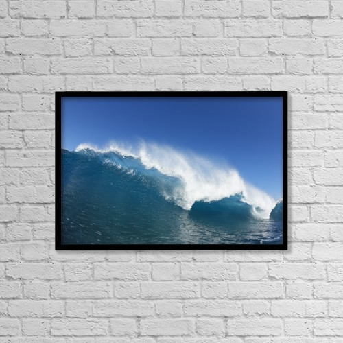 "Printscapes Wall Art: 18"" x 12"" Canvas Print With Black Frame - Blue Ocean Wave, View From In The Water by Design Pics Vibe"