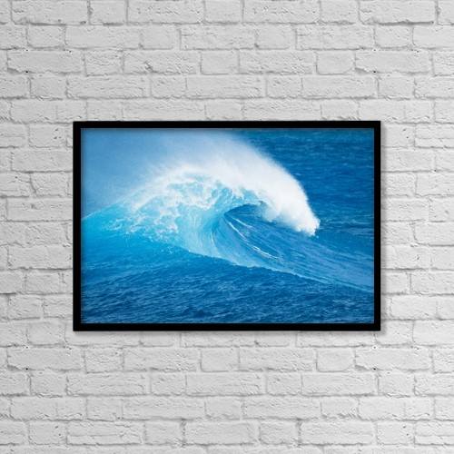 """Printscapes Wall Art: 18"""" x 12"""" Canvas Print With Black Frame - Blue Ocean Wave by Design Pics Vibe"""