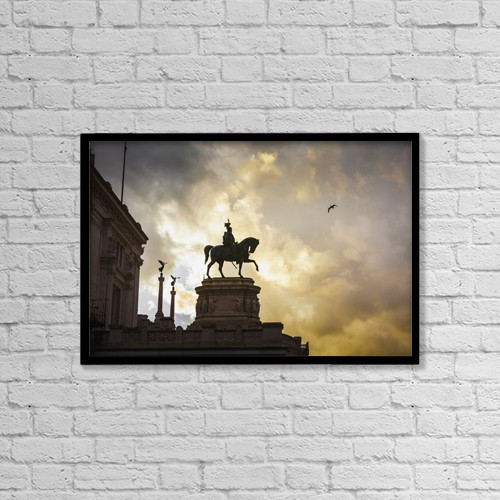 "Printscapes Wall Art: 18"" x 12"" Canvas Print With Black Frame - Statue Of Victor Emmanuel; Rome, Italy by Reynold Mainse"