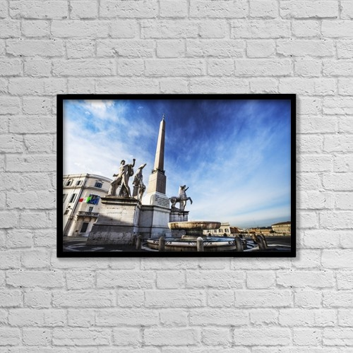 "Printscapes Wall Art: 18"" x 12"" Canvas Print With Black Frame - Obelisk In Palazzo Del Quirinale by Reynold Mainse"