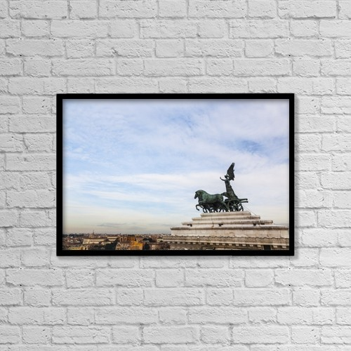 """Printscapes Wall Art: 18"""" x 12"""" Canvas Print With Black Frame - National Monument To Victor Emmanuel Ii by Reynold Mainse"""