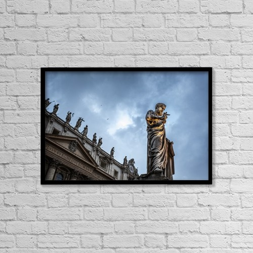 "Printscapes Wall Art: 18"" x 12"" Canvas Print With Black Frame - Statue Of Peter At Saint Peter's Basilica by Reynold Mainse"