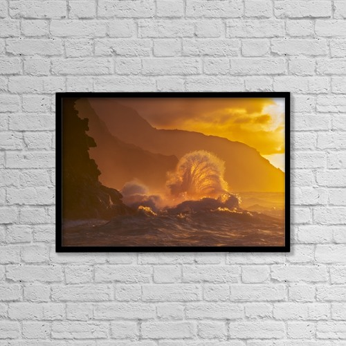 """Printscapes Wall Art: 18"""" x 12"""" Canvas Print With Black Frame - Surf Crashes On The Na Pali Coast At Sunset by Carl Johnson"""