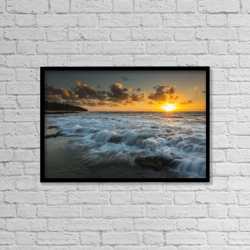"Printscapes Wall Art: 18"" x 12"" Canvas Print With Black Frame - Sunrise And Surf On The East Coast Of Kauai by Carl Johnson"