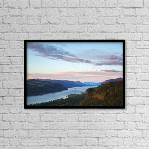 """Printscapes Wall Art: 18"""" x 12"""" Canvas Print With Black Frame - Columbia River At Sunset by Robert Postma"""