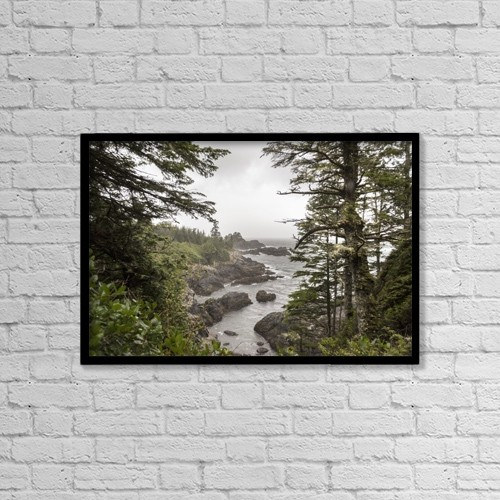 "Printscapes Wall Art: 18"" x 12"" Canvas Print With Black Frame - Rugged Coastline On Wild Pacific Trail by Keith Levit"