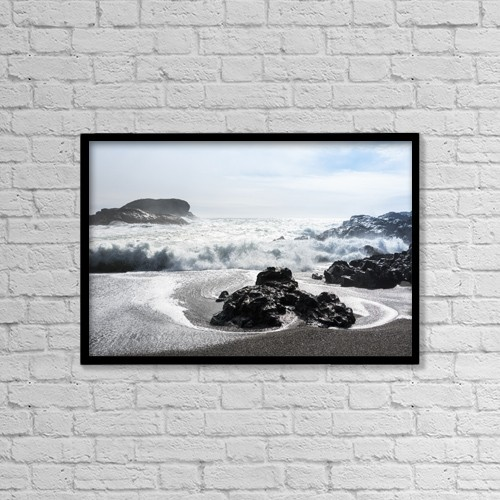 """Printscapes Wall Art: 18"""" x 12"""" Canvas Print With Black Frame - Waves Rolling On Shore by Keith Levit"""