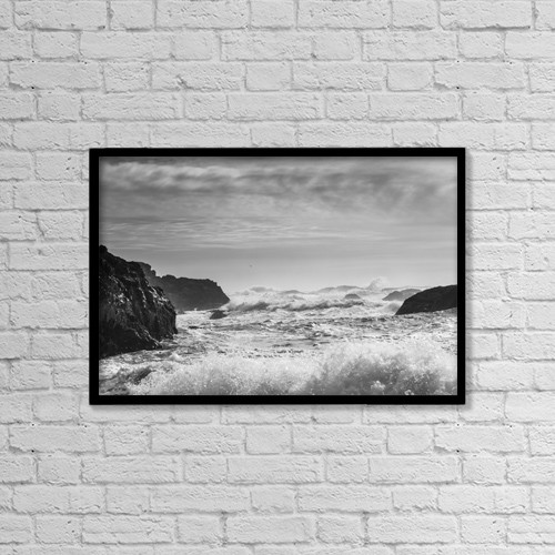 "Printscapes Wall Art: 18"" x 12"" Canvas Print With Black Frame - Waves Rolling On Shore by Keith Levit"