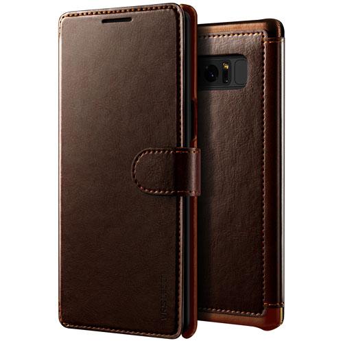 Étui portefeuille de VRS Design pour Galaxy Note8 - Brun