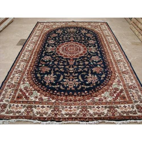 Ahmedani Awesome Blue Medallion Floral Oriental Rug Hand Knotted Wool Silk Carpet 10 2 X 6 7 Area Rug Dark Blue Best Buy Canada