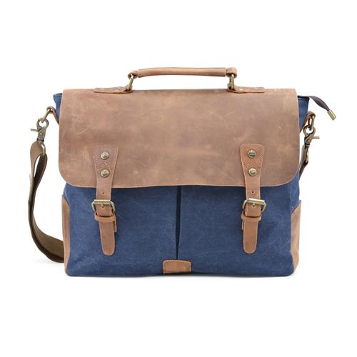7d3d51c6d2 Gootium Canvas Messenger Bag Vintage Leather Briefcase 15.6 Inch Laptop  Shoulder Bag