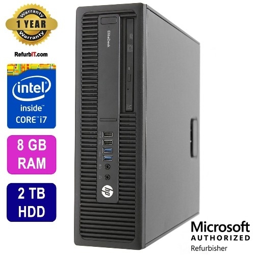 HP EliteDesk 800G1, Intel Core i7 , 8GB RAM, 2TB HDD, DVD, Win 10 Pro, 1 Year Warranty - Refurbished