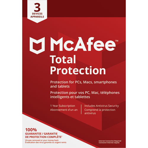 McAfee Total Protection 2018 (PC/Mac/Android/Chrome/iOS) - 3 appareils - 1 an