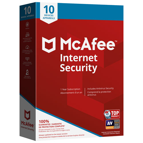 McAfee Internet Security 2018 (PC/Mac/Android/Chrome/iOS) - 10 appareils - 1 an