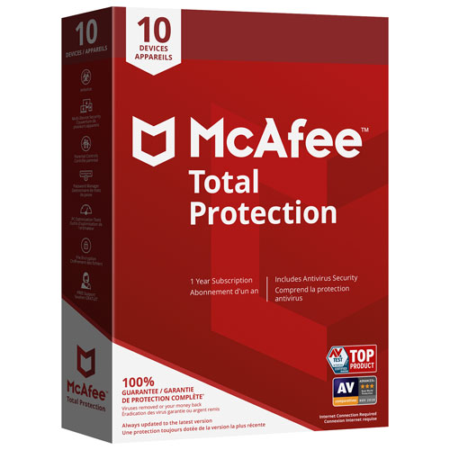 McAfee Total Protection 2018 (PC/Mac/Android/Chrome/iOS) - 10 appareils - 1 an