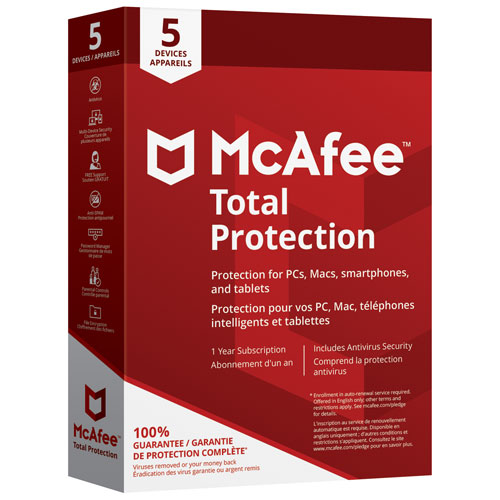 McAfee Total Protection 2018 (PC/Mac/Android/Chrome/iOS) - 5 appareils - 1 an